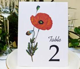 Wedding Table Card, Floral table card, Wedding Table Number, Wedding Table Tent, Poppy Flower Table Card