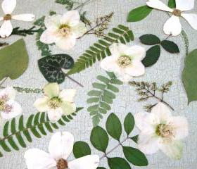 Woodland Leaves with White Accents, Wedding Decor, Table Decorations, Woodland Themes, Qty. of 60, Green Leaves with White Flowers