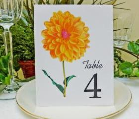 Wedding Table Card, Floral table card, Wedding Table Number, Wedding Table Tent, Dahlia Flower Table Card